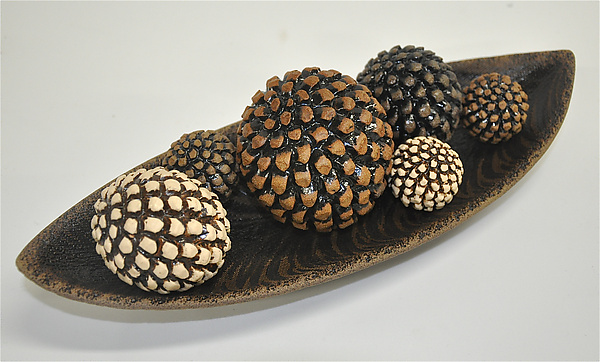 Bowl with Pinecone Rattles