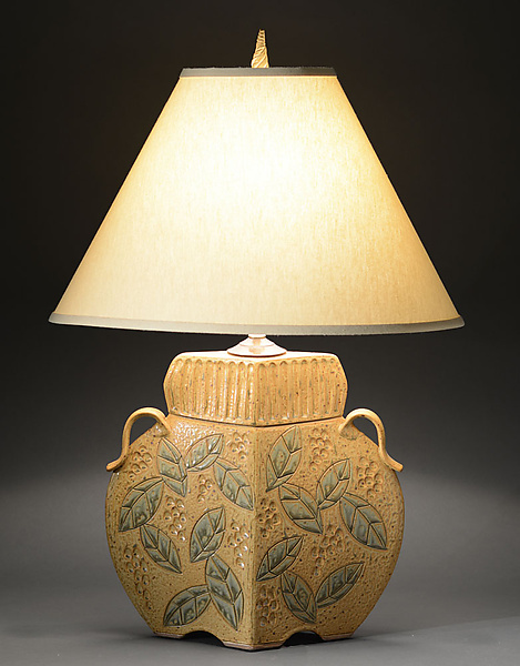 Arts and Crafts Lamp with Wide Leaf Carving