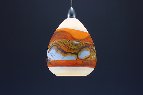 Teardrop Strata Pendant in White Opal with Tangerine