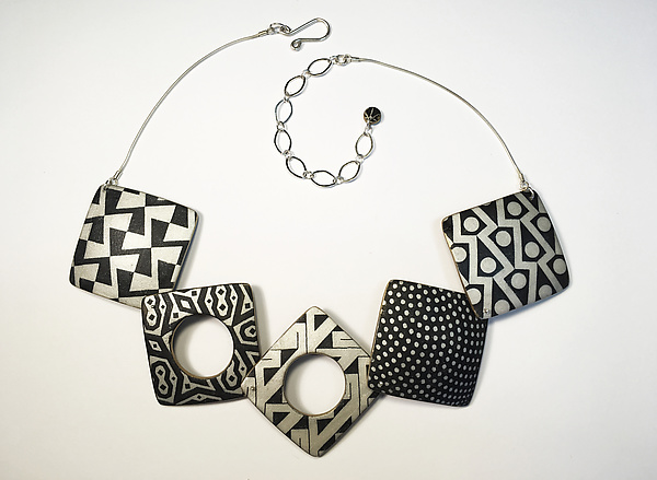 Square Necklace Black and Ivory