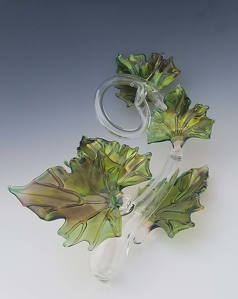Quintuple Glass Leaf Sculpture in Green