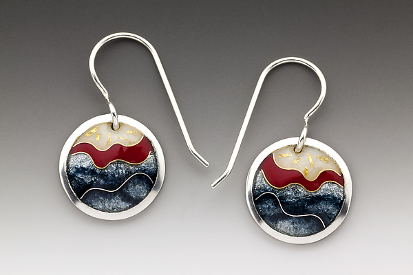 Red and Gray Circle Earrings
