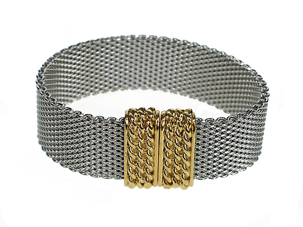 Flat Mesh Bracelet with Magnetic Clasp