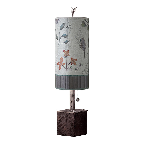 Steel Table Lamp on Reclaimed Wood with Small Tube Shade in Flora and Maze