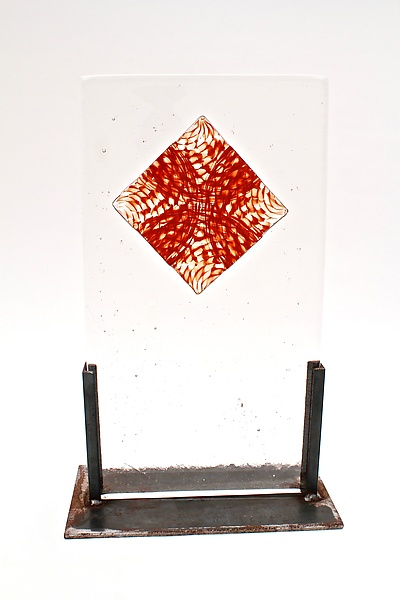 Blown Glass Origami Tile in Cast Glass