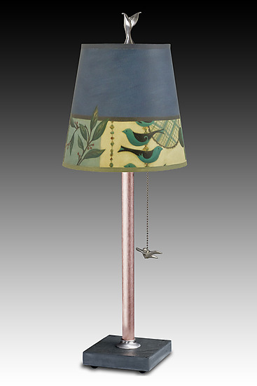 Copper Table Lamp with Small Drum Shade in New Capri Periwinkle