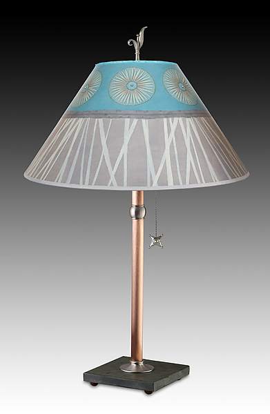 Copper Table Lamp with Large Conical Shade in Pool