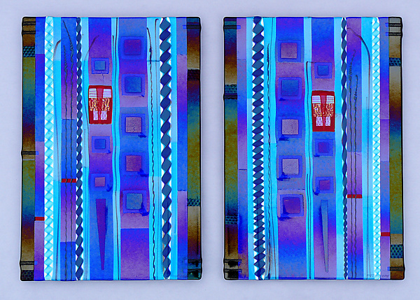 Blue Sky Diptych Panels in Cobalt and Aqua