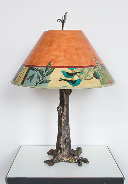 Bronze Tree Table Lamp with Large Conical Shade in New Capri Spice