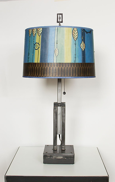 Adjustable Height Steel Table Lamp with Large Drum Shade in Leaf Stripe Blue