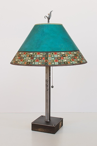 Steel Table Lamp on Wood with Large Conical Shade in Jade Mosaic